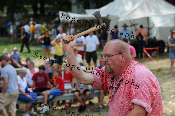 Jeff Hopper, of Mitchellville, throws an axe outside of Pioneer Hall at the Iowa State Fair on Aug. 9. (Iowa State Fair/ Steve Pope Photography)