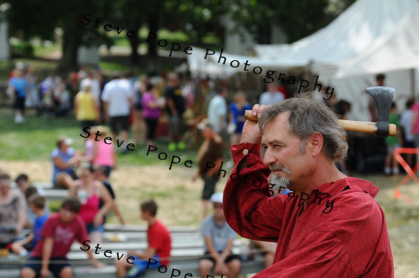 Ames resident Nelson Mark throws an axe outside of Pioneer Hall at the Iowa State Fair on Aug. 9. (Iowa State Fair/ Steve Pope Photography)