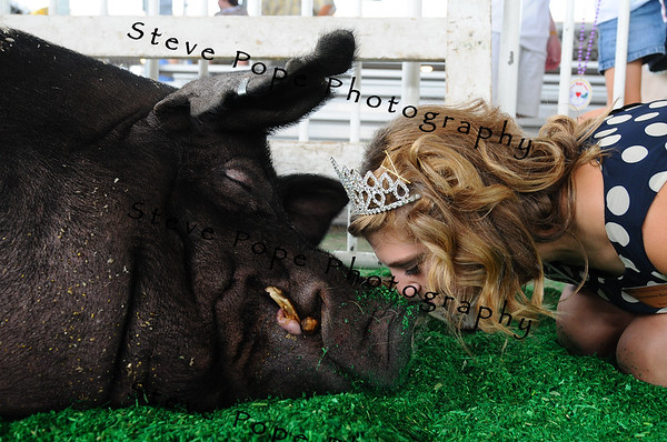 Breanna Branderhorst, Iowa Pork Queen, of Prairie City, kisses the Big Boar at the Iowa State Fair on Aug. 8. (Iowa State Fair/ Steve Pope Photography)