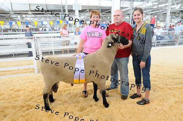 Rob and Gail Travaille, of Sibley, pose with their award winning 'Big Ram' at the Iowa State Fair on Aug. 8. The four-year-old Hampshire ram tipped the scales at 392.5 pounds. (Iowa State Fair/ Steve Pope Photography)