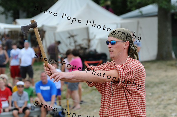 Justin Creswell, of Warrens County, Wisc., throws an axe at the Iowa State Fair on Aug. 9. (Iowa State Fair/ Steve Pope Photography)