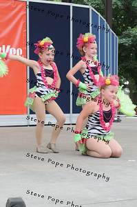 Tehya Ludwig, 7, Lexi Vaske, 7, and Kyra Deike, 7, all of Algona, perform a jazz trio in the Bill Riley Talent Search at the Iowa State Fair on Aug. 8. (Iowa State Fair/ Steve Pope Photography)