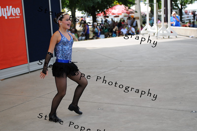 Brittney Rink, 10, of Creston, performs a clog dance in the Bill Riley Talent Search at the Iowa State Fair on Aug. 13. (Iowa State Fair/ Steve Pope Photography)