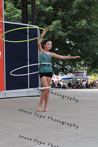 Jessica Merta, 12, of Altoona, performs a hula hoop routine in the Bill Riley Talent Search at the Iowa State Fair on Aug. 8. (Iowa State Fair/ Steve Pope Photography)