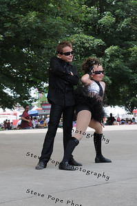 Riley Walker, 7, and Cassie Callaway, 6, of Burlington, perform a hip hop dance in the Bill Riley Talent Search at the Iowa State Fair on Aug. 8. (Iowa State Fair/ Steve Pope Photography)