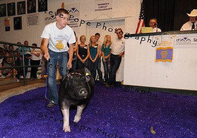 Alex Alliger, of Gowrie, stands with his Grand Champion FFA Market Hog during the 2013 Iowa State Fair Sale of Champions on Aug. 17. The hog sold for $41,000. (Iowa State Fair/ Steve Pope Photography)