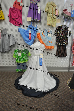 Ames resident Kathy Bailey earned a first place ribbon with her flower girl dress, on display at the Iowa State Fair's Varied Industries Building, on Aug. 7. (Iowa State Fair/ Steve Pope Photography)