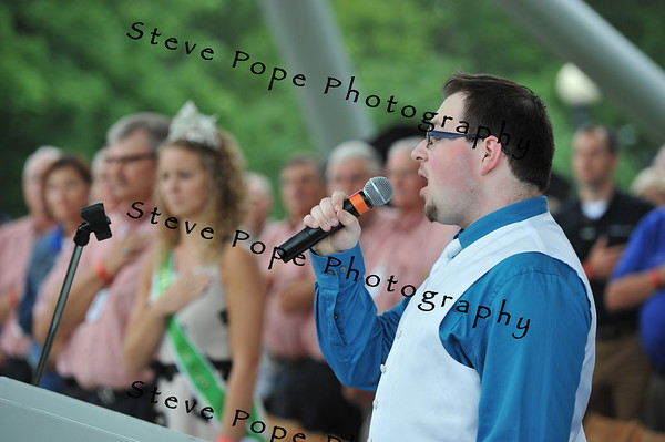 "Winner of the Des Moines Register's ""Oh Say Can You Sing"" contest, Zachary Jones, 20, of Indianola, performs the national anthem at the Opening Ceremony of the 2014 Iowa State Fair on Aug. 7. (Iowa State Fair/ Steve Pope Photography)"