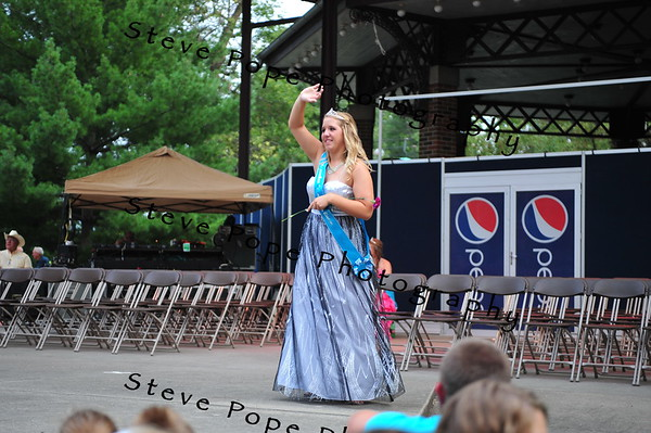 Allamakee County Queen McKayla Stock, 18, of Waukon, is introduced during the Iowa State Fair Queen Coronation Ceremony on the Anne and Bill Riley Stage at the Iowa State Fair on Aug. 9. (Iowa State Fair/ Steve Pope Photography)