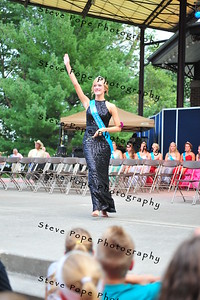 Black Hawk National Cattle Congress Queen Kristen Lowe, 18, of Dysart, is introduced during the Iowa State Fair Queen Coronation Ceremony on the Anne and Bill Riley Stage at the Iowa State Fair on Aug. 9. (Iowa State Fair/ Steve Pope Photography)