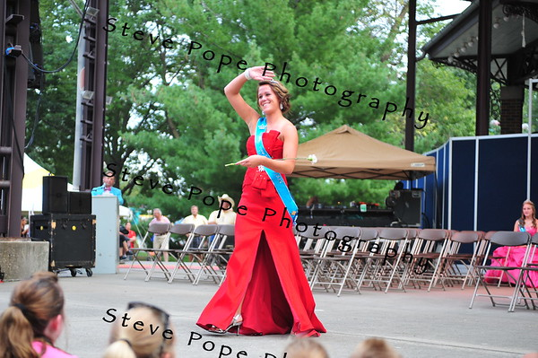 Adams County Queen Kelsie Kinman, 18, of Corning, is introduced during the Iowa State Fair Queen Coronation Ceremony on the Anne and Bill Riley Stage at the Iowa State Fair on Aug. 9. (Iowa State Fair/ Steve Pope Photography)
