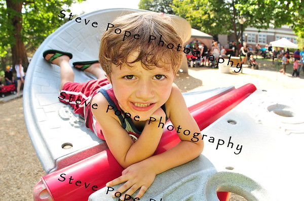 Four year old Hendrix Baumgartner, of Ames, plays on a playground at the Iowa State Fair on Aug. 16. (Iowa State Fair/ Steve Pope Photography)