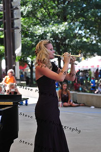 Sarah McGriff, 21, of New Sharon, performs a piccolo trumpet solo in the Bill Riley Talent Search at the Iowa State Fair on Aug. 14. (Iowa State Fair/ Steve Pope Photography)