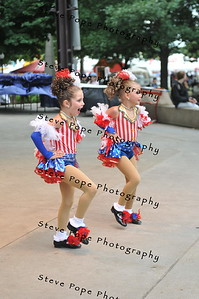 Dawson Huinker, 5, and Adalyn Sporrer, 6, both of Harlan, perform a tap duet in the Bill Riley Talent Search at the Iowa State Fair on Aug. 19. (Iowa State Fair/ Steve Pope Photography)