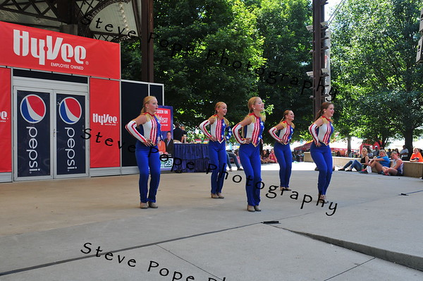 A clog quintent consisting of Riley Shryock, 13, Elizabeth Reardon, 13, Abbigail Sander, 11, Elle Housman, 13, and Taylor Bates, 11, all of Estherville, perform in the Bill Riley Talent Search at the Iowa State Fair on Aug. 14. (Iowa State Fair/ Steve Pope Photography)
