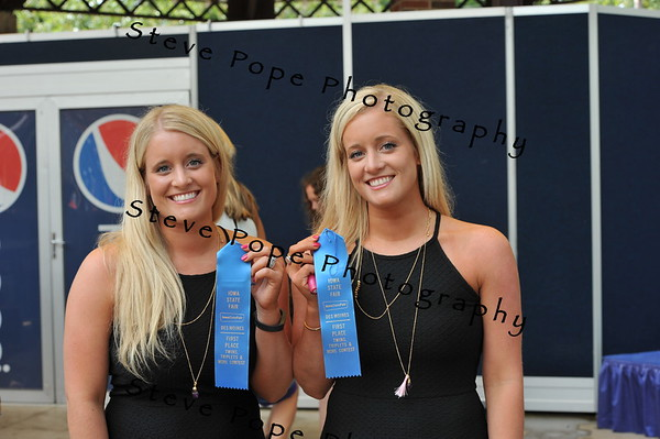 Granger natives Mollie Cosens and Megan Harney won first place in the Twins, Triplets, and More Contest at the Iowa State Fair on Aug. 11. (Steve Pope Photography/ Iowa State Fair)
