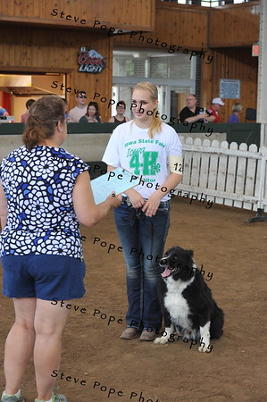 Kaylee Knight, of Winneshiek, shows her dog in the 4-H Dog Show at the Iowa State Fair on Aug. 20. (Iowa State Fair/ Steve Pope Photography)