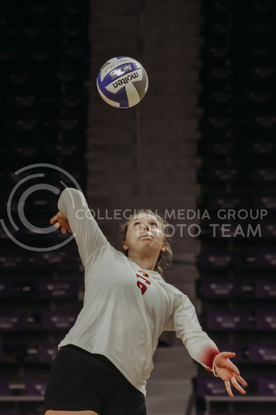Eleanor Holthaus readies to return the ball during the Kansas State volleyball game against Iowa State at Bramlage Coliseum on Sept. 26, 2020. (Sophie Osborn | Collegian Media Group)