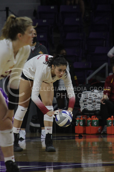 Candelaria Herrera focuses before serving the ball during the Kansas State volleyball game against Iowa State at Bramlage Coliseum on Sept. 26, 2020. (Sophie Osborn | Collegian Media Group)
