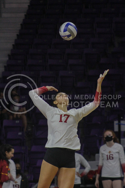 Candelaria Herrera serves the ball during the Kansas State volleyball game against Iowa State at Bramlage Coliseum on Sept. 26, 2020. (Sophie Osborn | Collegian Media Group)