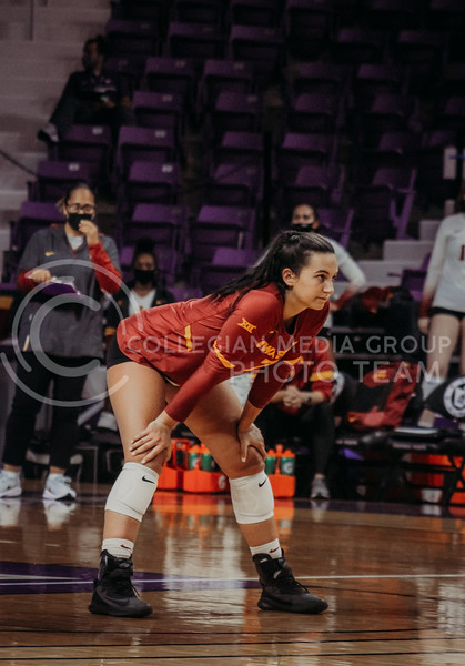 Izzy Enna eyes the opponents during the Kansas State volleyball game against Iowa State at Bramlage Coliseum on Sept. 26, 2020. (Sophie Osborn | Collegian Media Group)