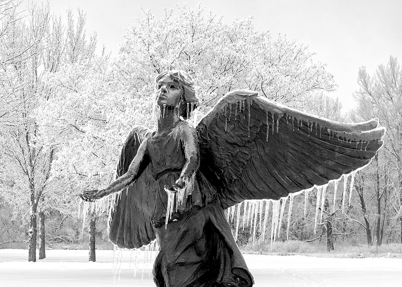 Ice Angel in Iowa City park_B&W-75