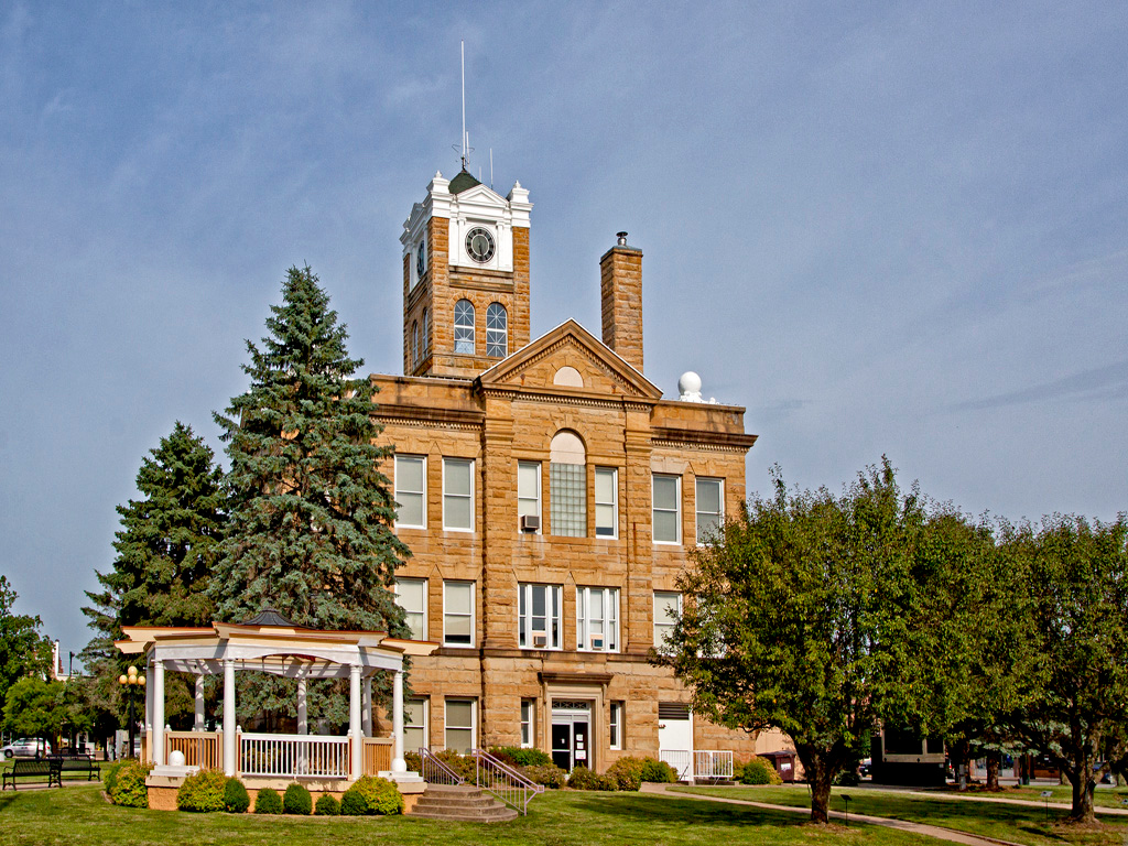Monroe County Courthouse. View 2.  Located in Albia, IA