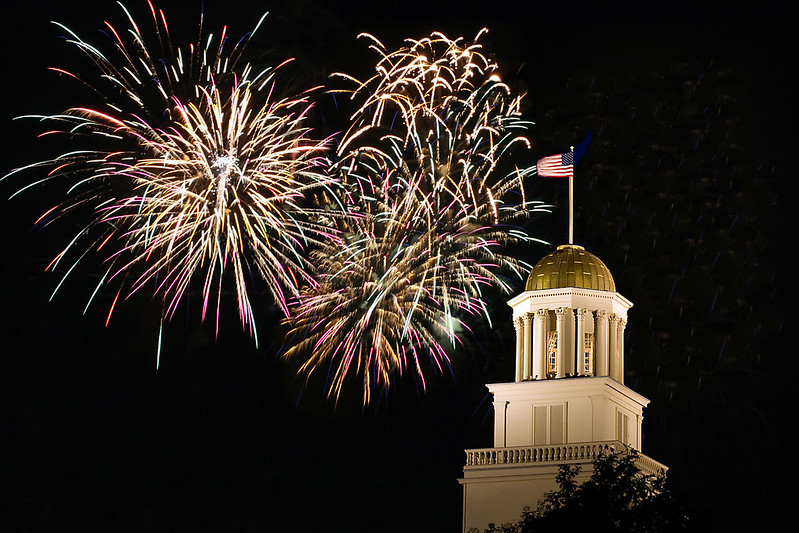 Old Capital in Fireworks Sky,