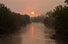 Iowa River at sunrise, near the Amana Colonies, Iowa, USA, America.