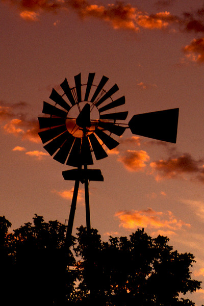 Windmill in Iowa Sunset