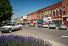 Historic downtown architecture on the streets of Winterset, Iowa, USA.