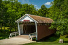 The Cutler-Donahue covered bridge in the city park of Winterset, Iowa, USA.