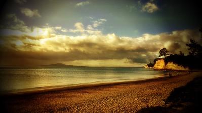 Browns Bay Beach - Gold Tone