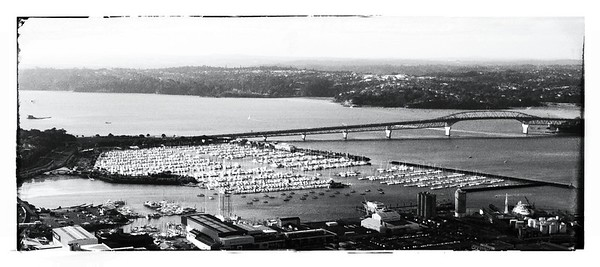 Harbour Bridge Pano - B&W