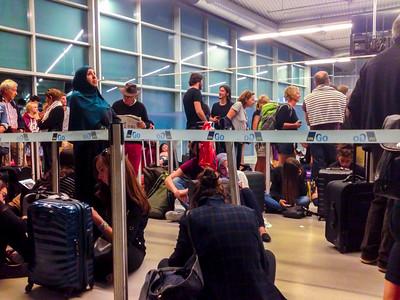 Copenhagen, Denmark, LIne Passengeres inside Copenhagen Airport, Easy Jet