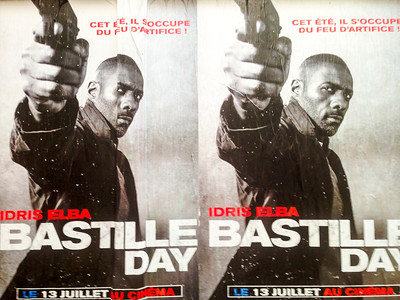 """Paris, France,  French Movie Advertising Poster, """"Bastille Day"""" Actor with Gun"""