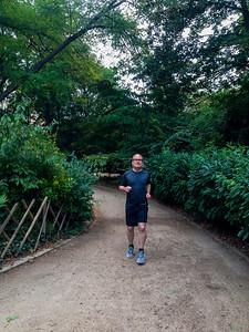 Paris, France, Street Scenes, Summer, 12th District Senior Man Jogging in Park