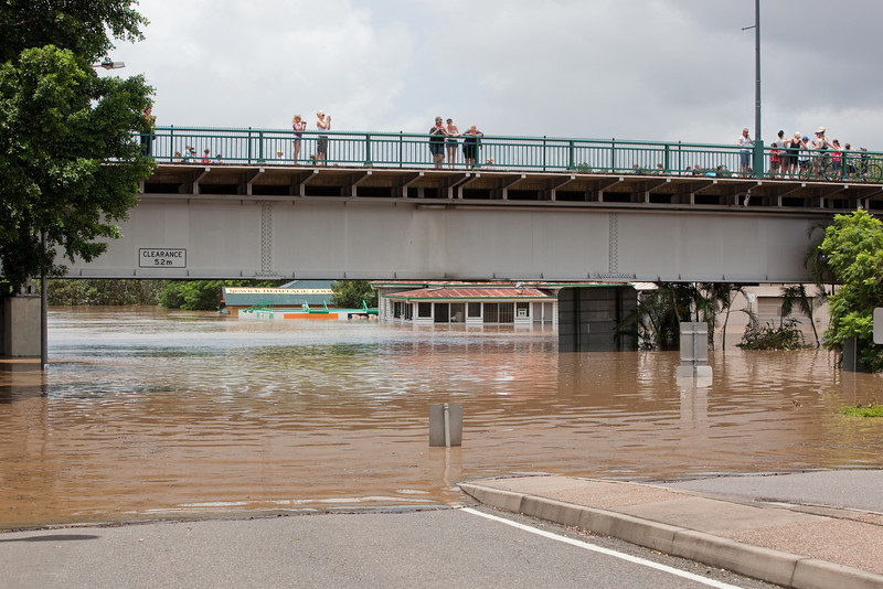 People flocked to the David Trumpy bridge to look at the flood waters not seen this high since 1974.  Photo taken from Bremer St Ipswich looking under the David Trumpy bridge towards King Edward Pde - 12 Jan 2011