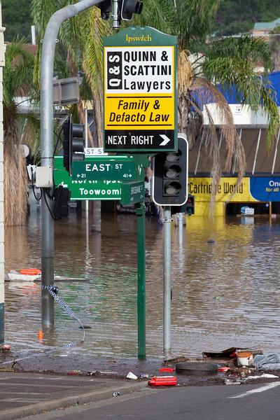 Intersection East St & Brisbane St Ipswich taken from Brisbane St looking towards East St - 12 Jan 2011