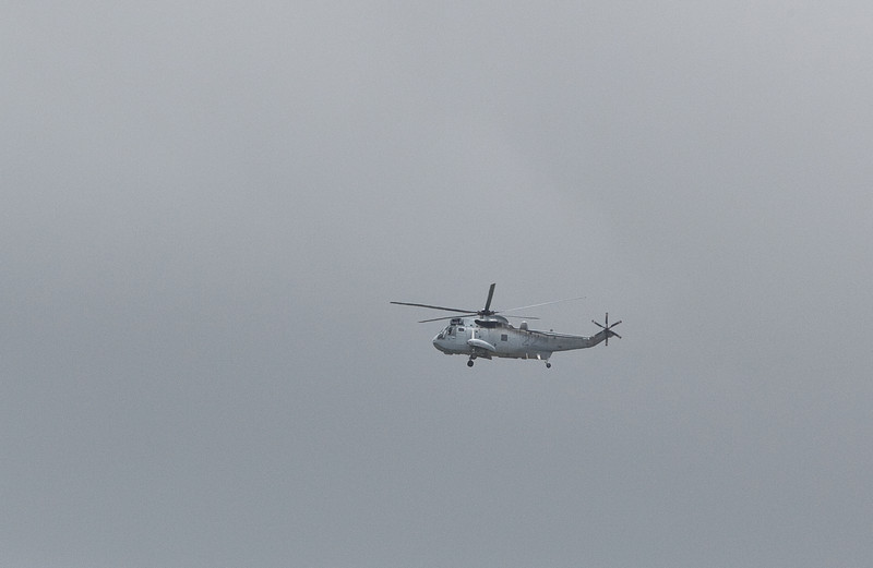 A Navy Sea King flying over Ipswich - 12 Jan 2011
