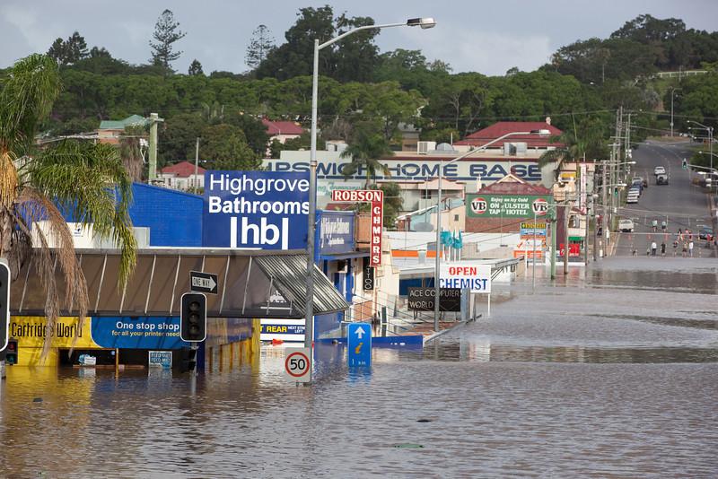 Intersection East St & Brisbane St Ipswich taken from Brisbane St looking towards Queens Park - 12 Jan 2011