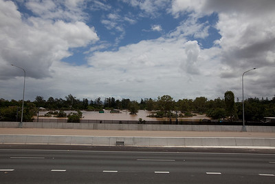 Looking across the Ipswich Motorway at the flood waters from Woogaroo Creek between Gailes and Goodna - 13 Jan 2011