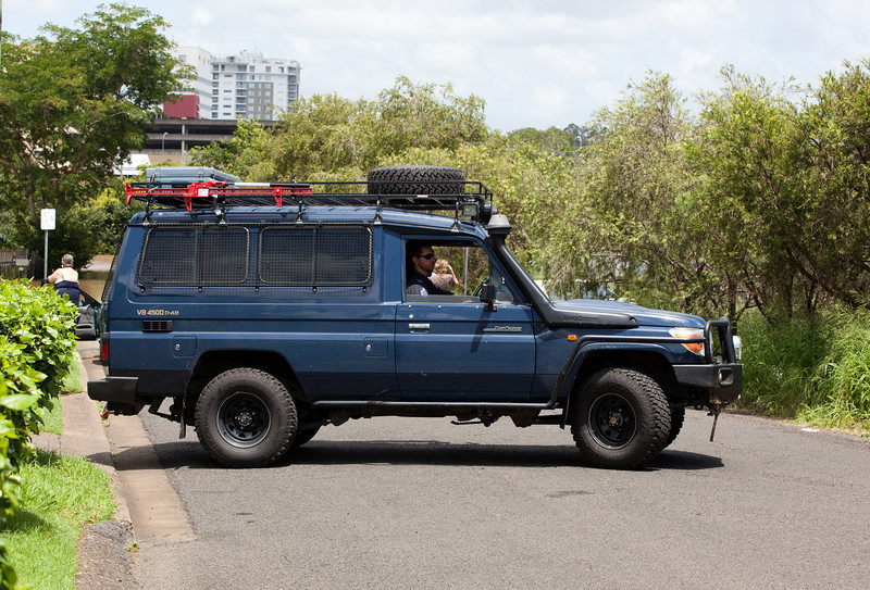 Australian Federal Police got around ipswich in troop carriers, here they turn around in Thorn St after checking on water levels and people affected by the flood - 12 Jan 2011