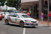 A police car turning from Brisbane St into Bell St escorting traffic through Ipswich City over the David Trumpy bridge to North Ipswich - 12 Jan 2011