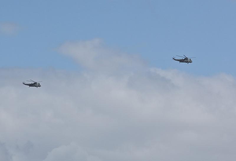 Two Navy Sea Kings flying over Ipswich - 12 Jan 2011