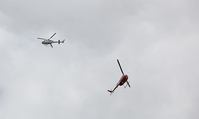 Helicopters patrol the skies over Gailes - 13 Jan 2011