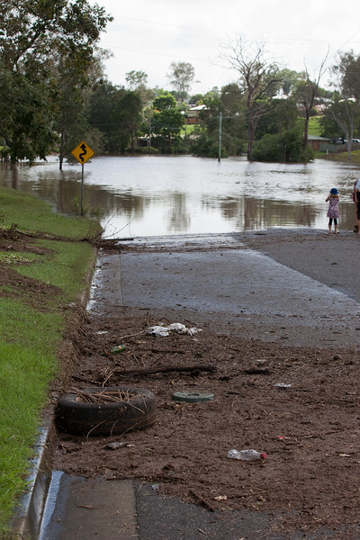 Debris from where the water had rose overnight - Berry St Churchill - 12 Jan 2011