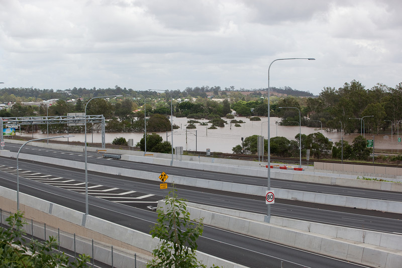 Looking across the Ipswich Motorway towards where Woogaroo Creek meets the Brisbane River taken from Brisbane St Gailes - 13 Jan 2011