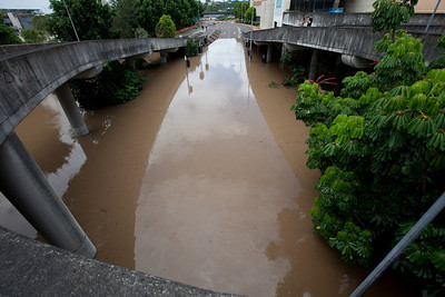 Bremer St as seen from the Ipswich City Square car park looking towards the David Trumpy bridge - 12 Jan 2011