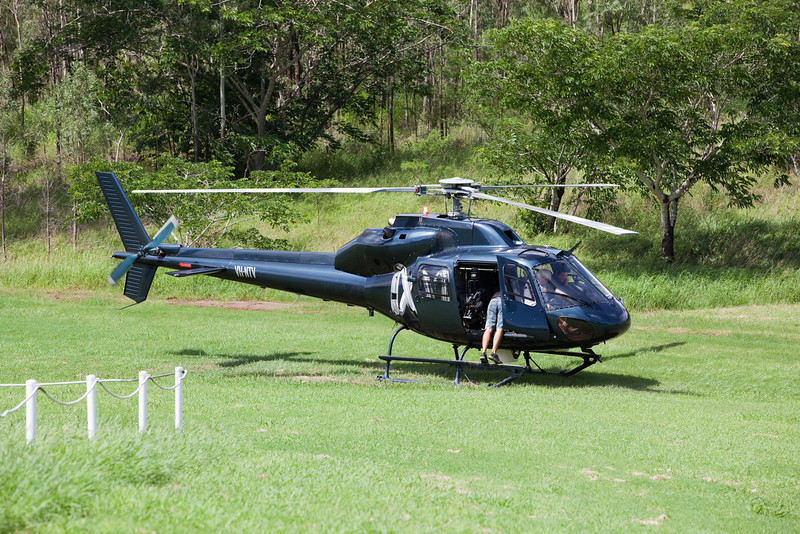Helicopters await instructions at Ipswich Helipad, Limestone Park - 12 Jan 2011
